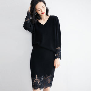Lace patchwork knitted skirt suits