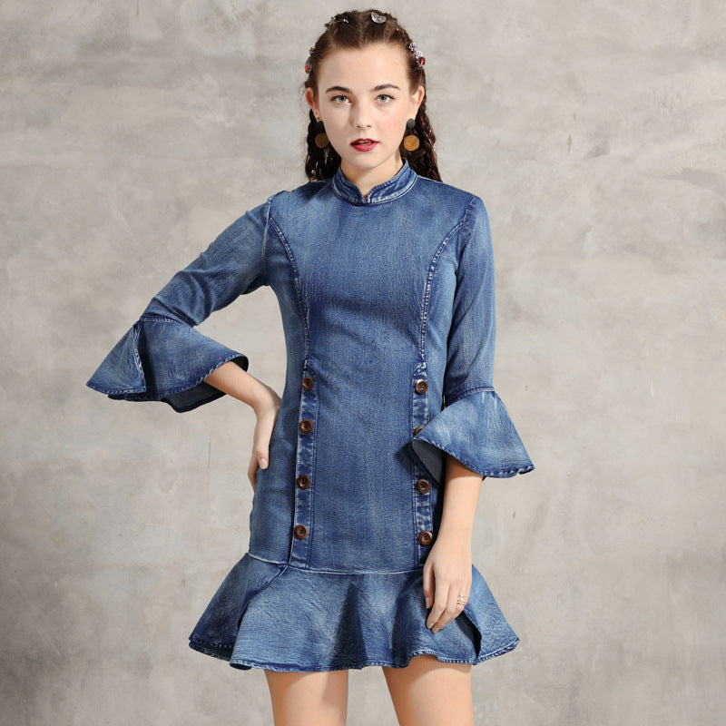 Denim mock neck falbala mini dresses - Fancyever