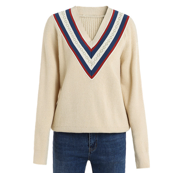 Retro v-neck knitted sweaters