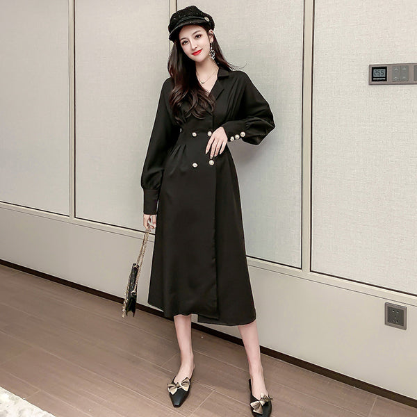 Lantern sleeve notched collar midi dresses