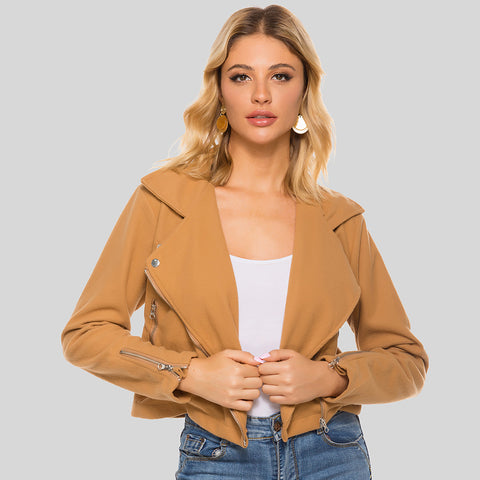 Lapel short zipper jackets - Fancyever