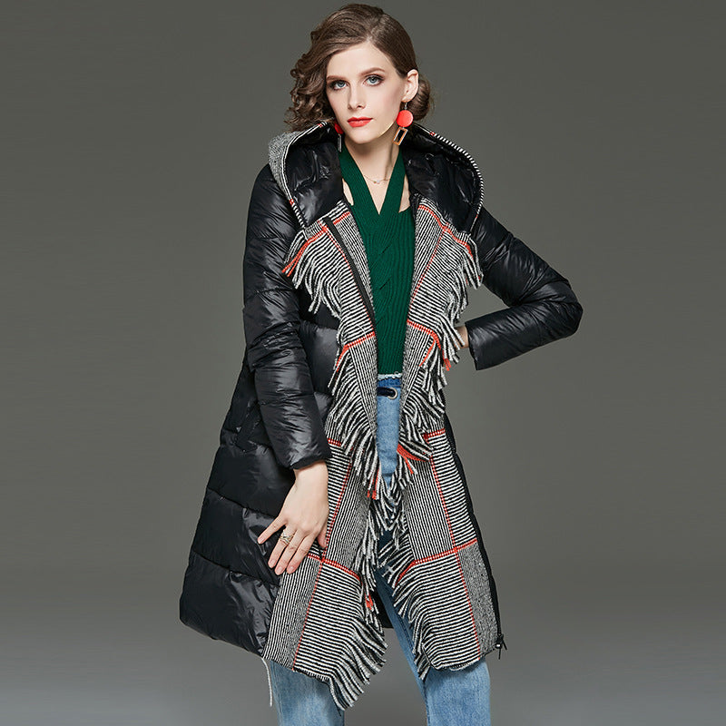 Hooded colorblock scarf-lined down coats - Fancyever