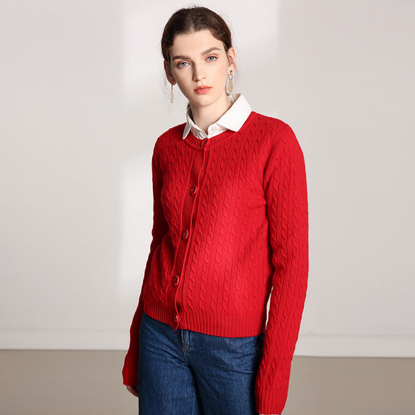 Crew neck cable-knit cardigans - Fancyever