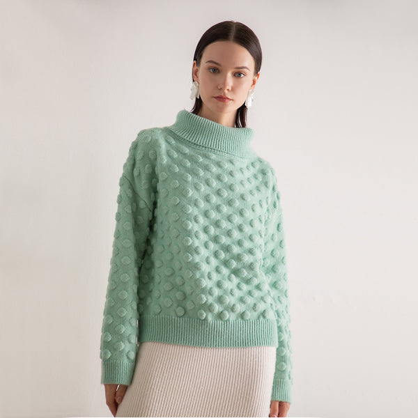 Turtleneck dot loose pullover sweaters