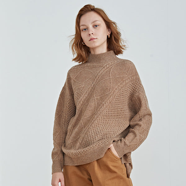 Turtleneck wool cable-knit sweaters