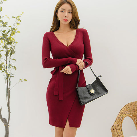 V-neck tied sheath sweater dresses