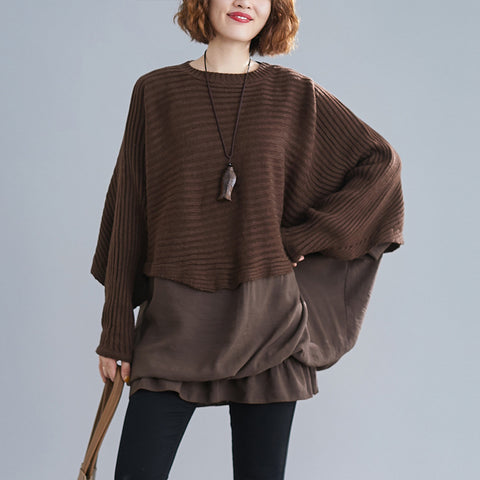 Bat sleeve patchwork loose sweaters