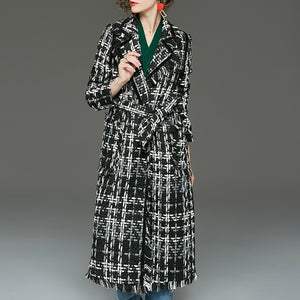 Lapel plaid tweed wrap coats - Fancyever