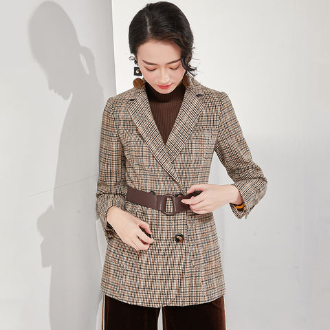 Plaid double-breasted belted blazers