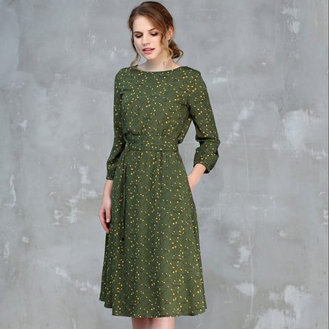 Crew neck print knee length dresses