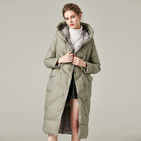 Diamond buttoned hooded puffer down coats
