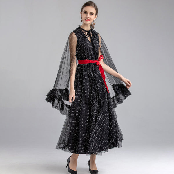 Polka dot belted maxi dresses with poncho