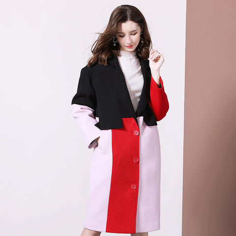 Color-blocked patchwork straight coats