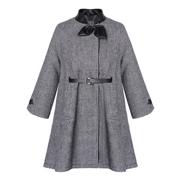 Mock neck bowknot plaid belted coats