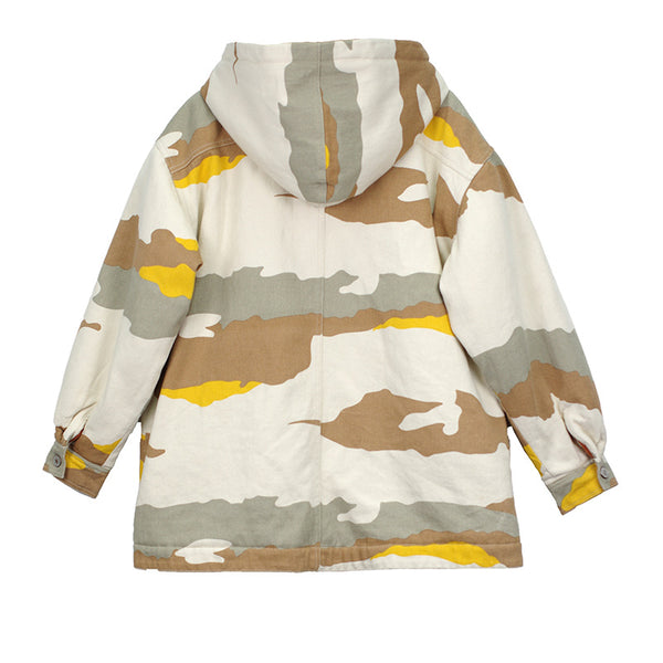 Camouflage hooded quilted loose coats