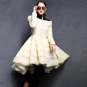 Lightweight colorblock big hem puffer down coats