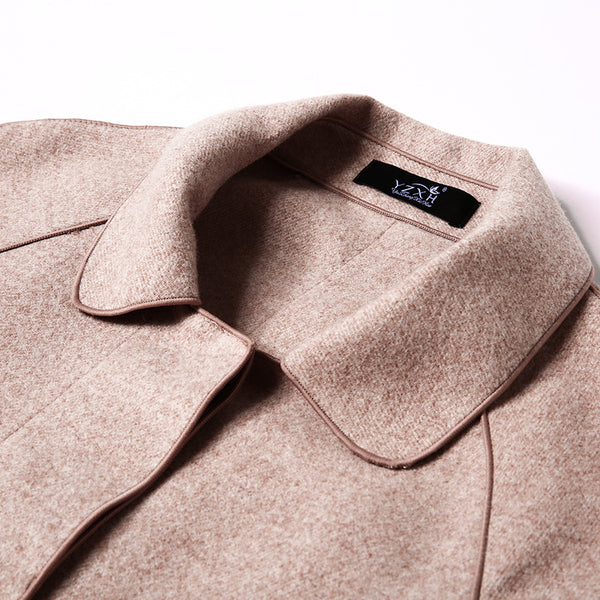 Single-breasted woolen straight coats
