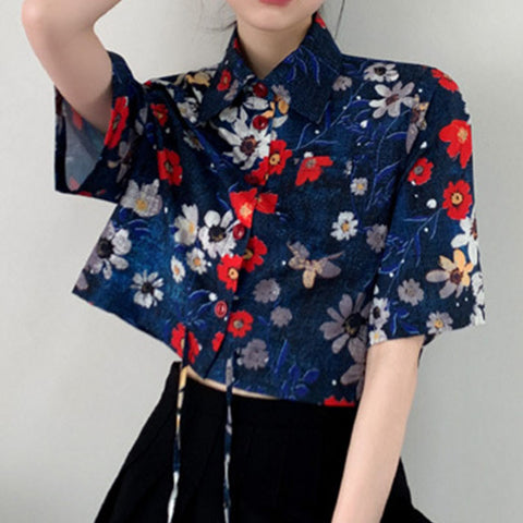 Turn-down collar drawcord floral crop tops