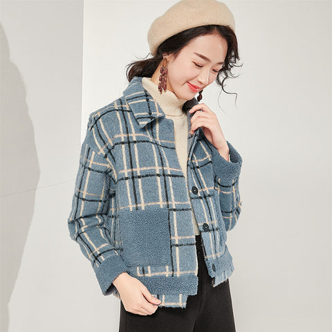 Plaid lapel patchwork short coats