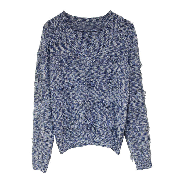 V-neck tassel knitted pullover sweaters