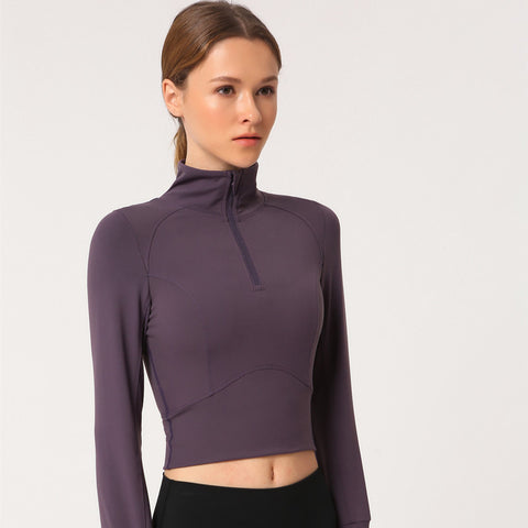 Stand collar tight cropped sport tops