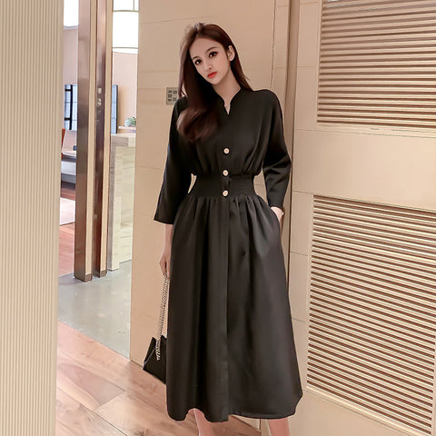 V-neck blouson black dresses