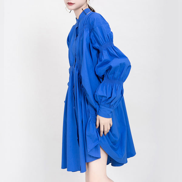 Irregular single-breast pleated dresses