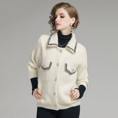 Patchwork lapel button-front coats