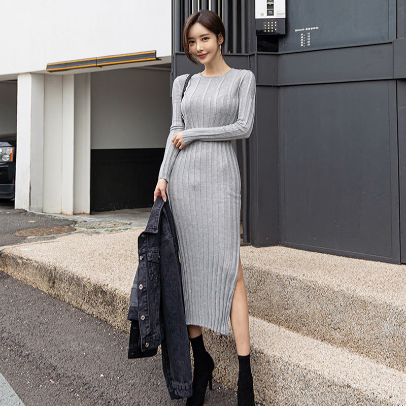 Crew neck slit sweater dresses