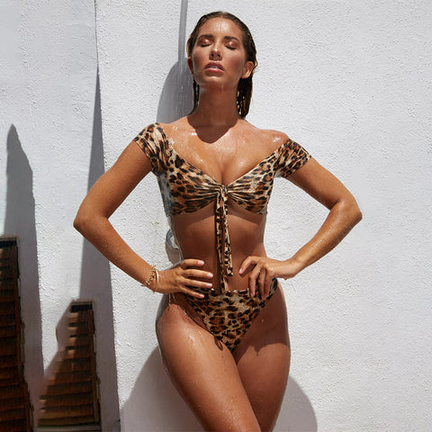 Off the shoulder leopard bikinis