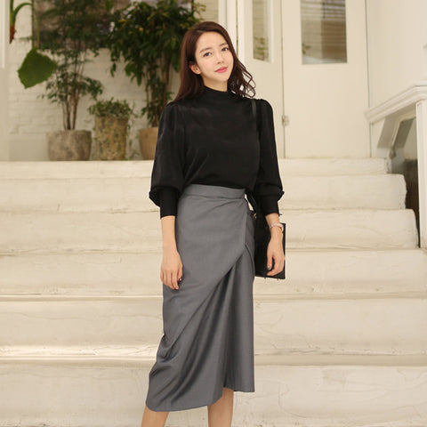 Lantern sleeve asymmetric skirt suits
