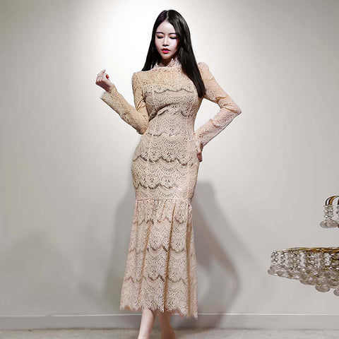 Ruffled openwork lace long peplum dresses