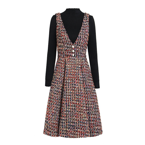 French retro knitted tweed dress suits