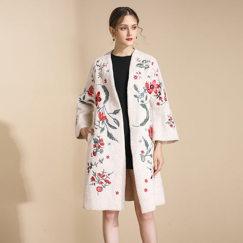 Fleece embroidered open front coats