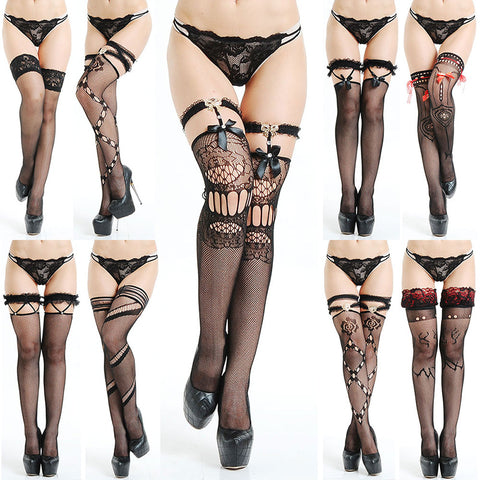 Bowknot top fishnet thigh high stockings