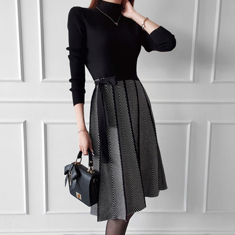 Turtleneck patchwork belted sweater dresses