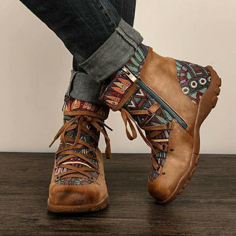 Boho retro zipper fur ankle boots