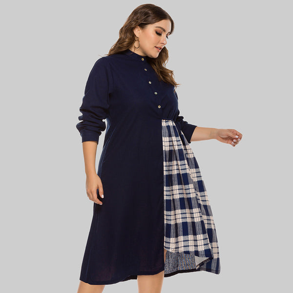 Plus size plaid patchwork asymmetric dresses
