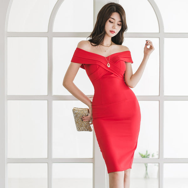 Off the shoulder bodycon sheath dresses