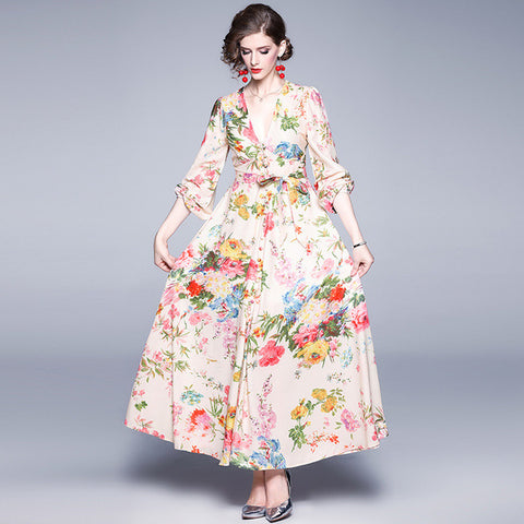 V-neck floral print big hem maxi dresses