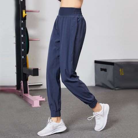 Solid color quick dry high waist active pants