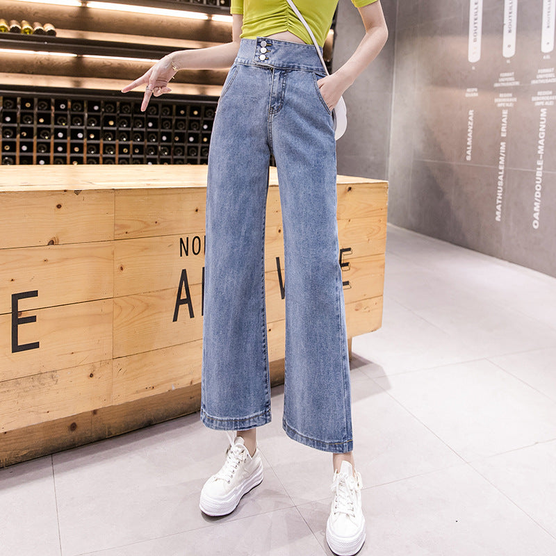 Denim high waisted cropped straight pants