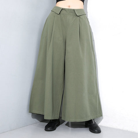 Big hem elastic boyfriend wide leg pants