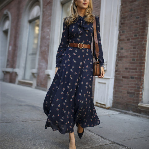 Long sleeve print chiffon maxi dresses