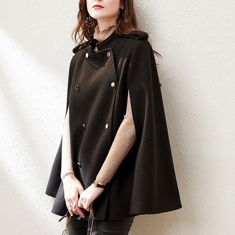 Mock neck buttoned poncho coats