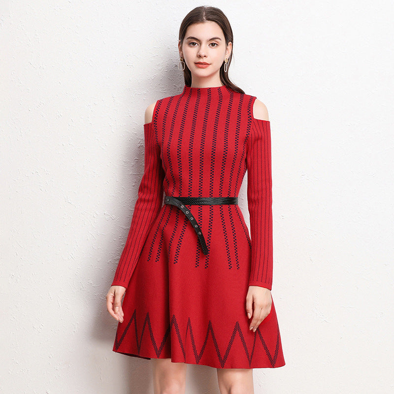Cold shoulder striped belted sweater dresses