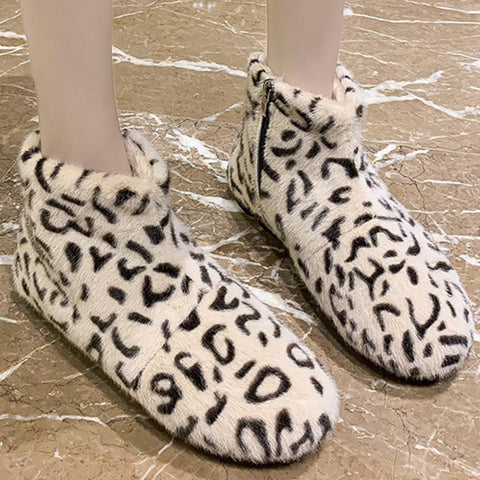 Leopard warm stylish fur ankle boots