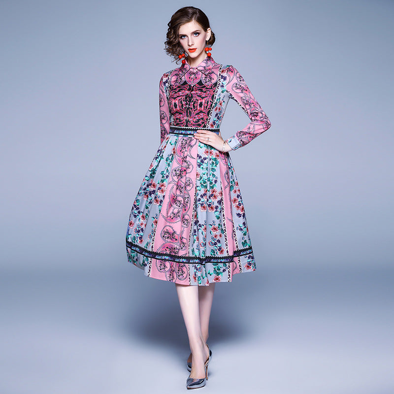 Gathered waist retro print skater dresses