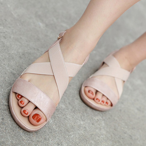 Rounded flat soft breathable sandals