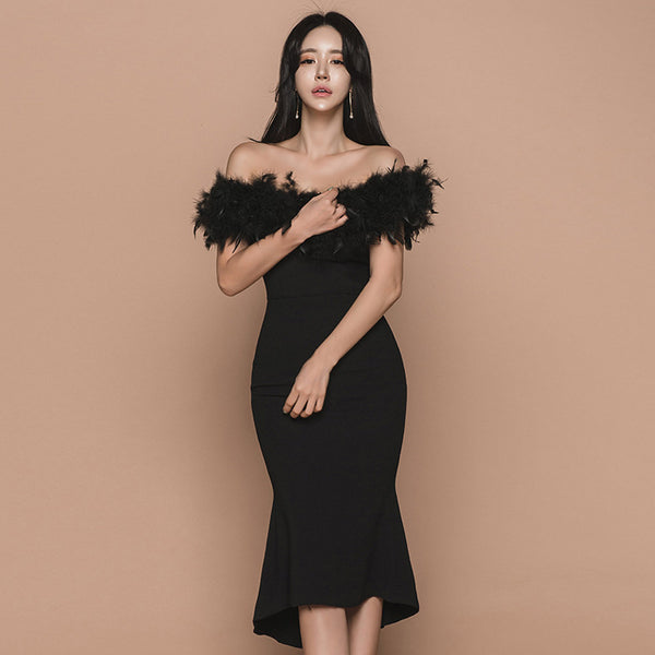 Feather off-the-shoulder bodycon dresses